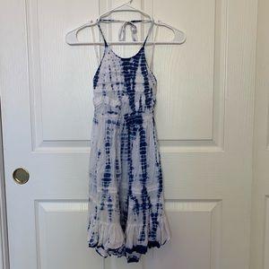 blue and white tie die halter dress